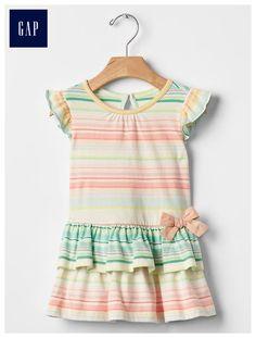 Stripe ruffle tier dress