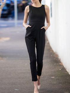 Scoop Neck Black Backless Sleeveless Jumpsuit