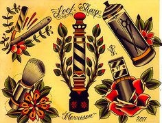 Barber Shop Flash Art | i like straight razor tattoos but i'm afraid they're a bit too common