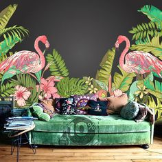 From Dreamywall: Tropical Flamingo Peel & Stick Wallpaper Hawaii Plant Forest Removable Wall Mural Summer Holiday Wall Sticker Trees Leaves Green Nature Flamingo Wallpaper, Colorful Wallpaper, Wallpaper Plants, Peeling Wallpaper, Eclectic Wallpaper, Leaves Wallpaper, Tropical Wallpaper, Forest Wallpaper, Wallpaper Murals