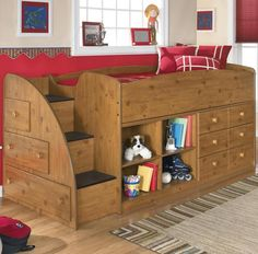 Storage loft kids bed