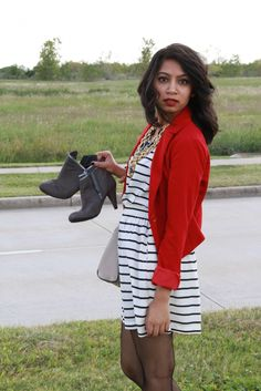 red blazer, striped dress