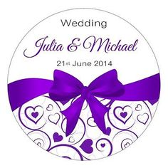 Personalised Wedding Sticker/Seal/Labels/Favours ~BOW DESIGN~ CHOICE OF COLOUR