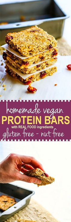 How to Make Homemade Vegan Protein Bars {Gluten Free, Nut Free}. No protein Powder Needed! Gluten free and nut free vegan protein bars made with simple wholesome protein rich ingredients. Delicious and easy to make!