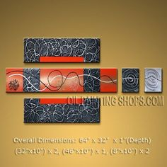 """High Q. HUGE Multiple Panels Wall Art for Bedroom Contemporary Abstract 64"""" x 32"""" #1489   Modern_Abstract_Art - Painting US $172.00"""