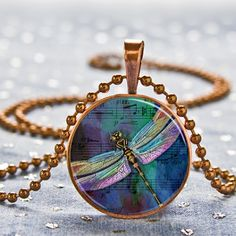 Musical Dragonfly Art Pendant with Necklace