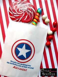 Superhero Candy Bags Captain America by LittlebeaneBoutique Avengers Birthday, Superhero Birthday Party, 6th Birthday Parties, 4th Birthday, Birthday Ideas, Captain America Party, Captain America Birthday, Superhero Favors, Candy Bags