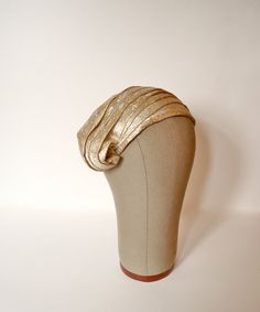 Vintage 1950s Hat: Gold Brocade Fascinator Half Hat, Christine Original. $38.00, via Etsy.