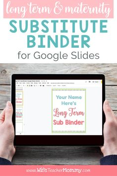 This maternity leave or long term sub planning binder is perfect for teachers who are planning to be out of the classroom for an extended period of time. With Google Slides, you can digitally edit and customize content and even share it digitally with your substitute. This resource includes over 200 editable pages! Some of the content that's included is calendars, planning pages, lesson plans, games and hands-on activities, art activities and brain breaks, and much more! #wifeteachermommy
