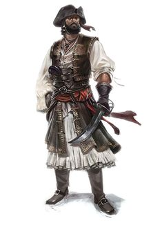 Steal this pirate's look. Frock (or poet blouse + boho skirt) + tall boots (or shoes + gaiters, or shoes + stockings) + duster + sash.   Blaise Legros - The Privateer.