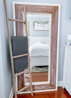 Waverly Chalk Paint, Faux Wood Flooring, Peel And Stick Wood, Dry Brush Technique, Ikea Mirror, Wood Ladder, Old Mirrors, Toned Paper, Décor Boho