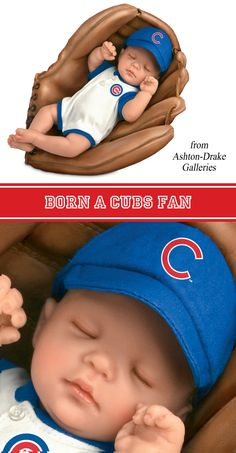 MLB-Licensed Chicago Cubs Fan Baby Doll By Cheryl Hill from Ashton-Drake Galleries naps comfortably in a baseball glove that's just his size!  www.ashtondrake.com/products/301663001_cubs-fan-baby-doll.html