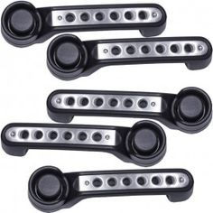 Drake Off Road Door Handle Inserts with Holes, Brushed Aluminum Finish - (Set of 5)