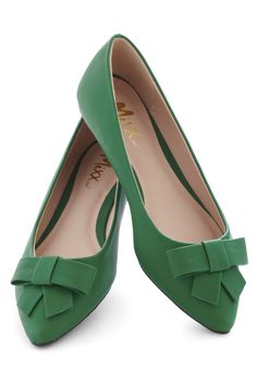 Night At The Musical Flat - Green, Solid, Bows, Flat, Work, Faux Leather