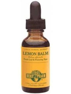 Lemon Balm Extract- 1 full dopper in water, calms down nerves and mellows you out. Also great for healing Cold Sores!!
