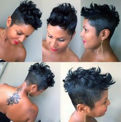 Pretty edgy chick 💀💄💋💋💋 Haircut/Style by: Stephanie Anderson Edgy Short Hair, Short Black Hairstyles, Pixie Hairstyles, Short Hair Cuts, Black Pixie Haircut, Pixie Cuts, Short Pixie, Haircuts, Curly Hair Styles