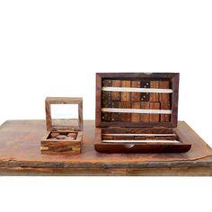 Shishum Wood and Brass Domino Set