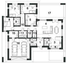 Klarowny D55 - Rzut parteru Architecture, Home Projects, House Plans, Floor Plans, House Design, How To Plan, Flats, Arquitetura, House Floor Plans