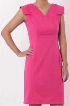 Rose Red V Neck Sleeveless Back Zipper Dress