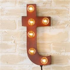 Vintage Style Sign Letters Wall Sconce - Shades of Light   *industrial chic, loft, raw materials, factory, farmhouse, rustic, salvage style, vintage, urban, upcycle, recycle, reuse, found items, rust*