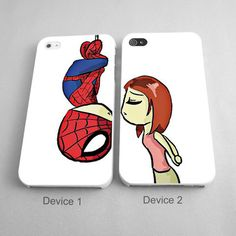 Spiderman Kissing Mary Jane Couples Phone Case iPhone 4/4S, 5/5S, 5C Series - Hard Plastic, Rubber Case