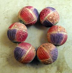 Symphony in Pink - 6 Artisan Beads - Handmade from Polymer Clay