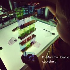 reggio light panel activities using cups and bricks an everyday story This Week. Reggio Emilia, Reflective Practice, Reggio Classroom, Light Panel, Kids Lighting, Learning Through Play, Working With Children, Eyfs, Photography Projects