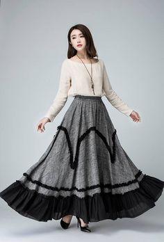 mothers day gift,maxi skirts long, linen skirt, layered skirt, grey skirt, womens skirts, party skirt, ruffle skirt,elastic waist skirt 1487