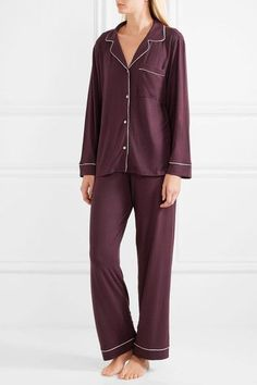 Burgundy and white stretch-modal jersey Button fastenings through front  95% modal, 5% spandex Designer color: Cabernet  Shell: China Hand wash Imported