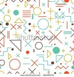 Seamless abstract pattern, flat vector of geometric colorful shapes and figures