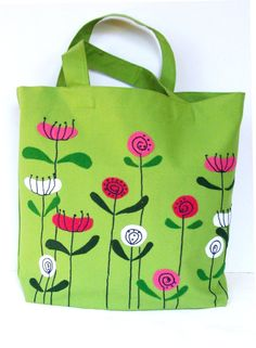 Spring flowers on green canvas handmade tote bag hand by Apopsis