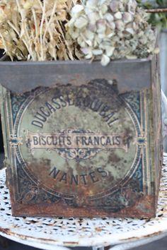 antique french tin box