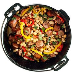 Sausage and Bean Duth Oven Stew  http://www.sunset.com/food-wine/kitchen-assistant/camping-cooking-recipes-00400000043368/page9.html