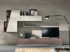 Spar Wall Unit Exential - Made in Italy Shelving Design, Tv Wall Design, Shelf Design, Tea Table Design, Lcd Panel Design, Lcd Units, Livng Room, Modern Wall Units, Modular Walls