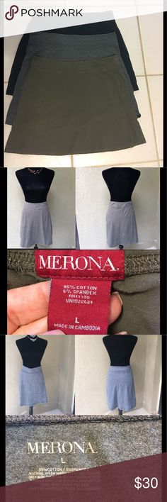 """🆕THREE Merona Skirts Bundle Three Merona jersey knit (tshirt-like stretch) skirts for one price!!! Olive green, heather grey & black. All are size Large but measurements are slightly different - Green waist (laying flat) 17.5"""" length 17"""", grey waist 18"""" length 18.5"""", black waist 17.5"""" length 18"""".  Price is for all three!!!!         ✅I ship same or next day ✅Bundle for discount Merona Skirts Midi"""