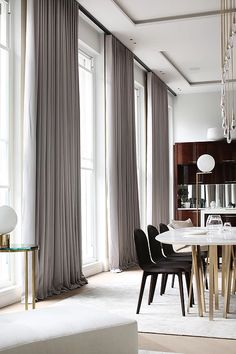 Turnkey luxury interior from DH Liberty for Apartment 3 in Park Crescent, London. Luxury Curtains, Home Curtains, Curtains With Blinds, Curtains For Sliding Doors, Floor To Ceiling Curtains, Grey Curtains, Home Room Design, Home Design Plans, Living Room Designs