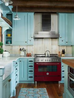 Gridley + Graves Photographers (House Of Turquoise). Blue Kitchen CabinetsHouse  ...