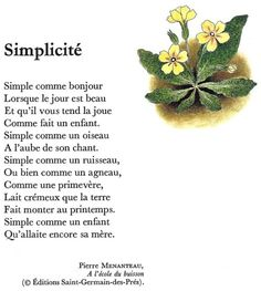SIMPLICITÉ (Pierre Menanteau) French Slang, French Verbs, French Phrases, French Language Lessons, French Language Learning, French Lessons, French Love Poems, French Words Quotes, French Teaching Resources