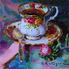 "Daily Paintworks - ""Tea and Aster"" - Original Fine Art for Sale - © Elena Katsyura Painting Corner, Food Painting, Fabric Painting, Painting & Drawing, Anime Comics, Tee Kunst, Diy Canvas Art, Fantasy Paintings, Tea Art"