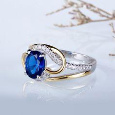 Jeulia Two Tone Oval Cut Created Sapphire Engagement Ring - Jeulia Jewelry