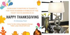 Happy Thanksgiving!! It's #Thanksgiving #GIVEAWAY TIME! :) Enter To Win #Ashley Signature Design #table #lamp & $100 Off on your next purchase. Simply -  1) LIKE This Post!! 2) SHARE This Post!! 3) COMMENT & TAG a FRIEND!! or More than One!! 4) Follow us On Pinterest! #yyc #Calgary #Alberta #Canada #contest #furniture #bestfurniturestorescalgary #discountfurniturecalgary #furnitureonsalecalgary #furnitureshopscalgary #ashleyfurniturecalgary #modernfurniturestores… Modern Furniture Stores, Affordable Furniture, Furniture Sale, Discount Furniture, Design Table, Wholesale Furniture, Alberta Canada, Signature Design, Happy Thanksgiving