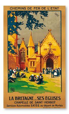 Vintage Travel Poster - La Bretagne - Chapelle de Saint-Herbot by Charles Hallo.