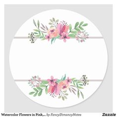 Watercolor Flowers in Pink, Circle Address Sticker Watercolor Trees, Watercolor Flowers, Watercolor Portraits, Watercolor Landscape, Watercolor Painting, Watercolor Artists, Floral Watercolor Background, Watercolor Images, Flower Circle