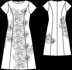 Burda October 2011 white and black dress technical drawing