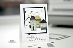 card house houses home SIZZIX Birthdaycard New Home Cards, Birthday Cards, Happy Birthday, Die Cut Cards, Inspiration Boards, Tim Holtz, New Homes, How To Make, Blog