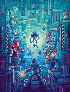 A new collection of work based around Videogames for the show 'Pixels & Polygons' at Gallery The show also featured artwork from Anthony Petrie. Prints from the show are available from Gallery Retro Video Games, Video Game Art, Retro Gaming Wallpaper, Dan Mumford, Desenho Tattoo, Anime Fnaf, Cult Movies, Mega Man, Star Wars Episodes