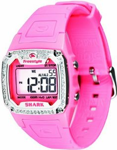 Freestyle Women's FS84895 Shark Classic B Digital Watch Freestyle. $58.15. Water-resistant to 330 feet (100 M). Night vision backlight. Chronograph, stopwatch, dual time, 2 alarms, pre-set timer, calendar. Digital-Quartz-movement. Polyurethane strap with adjustable buckle