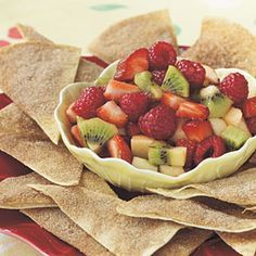 Easy+Appetizers+from+Gooseberry+Patch++|+Fruit+Salsa+with+Cinnamon+Chips+|+MyRecipes.com