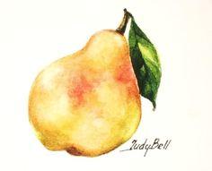 Pear golden yellow fruit art print 3x3