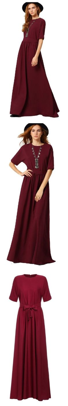ROMWE Women's Casual Long Dress Half Sleeve Pleated Maxi Dress https://goo.gl/23uqgF